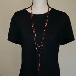 Candie's double chain beaded necklace with tassle